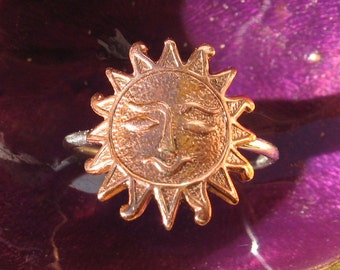 Copper and Sterling Silver Sun Ring