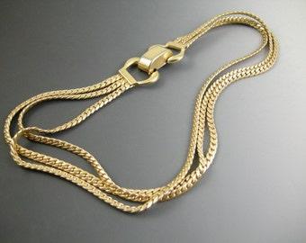 Vintage Brookcraft Triple Chain Retro Necklace