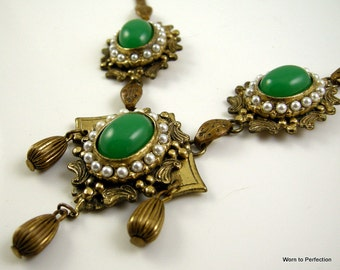 Vintage Brass Victorian Renaissance Revival Necklace with Green Glass Cabochons and Faux Pearls