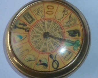 Vintage Fortune Telling Pocket Watch Spinning Game