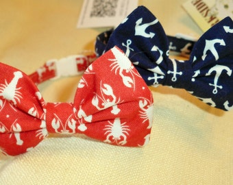 Bow Tie Collar for Cats and Small Dogs With Nautical Theme