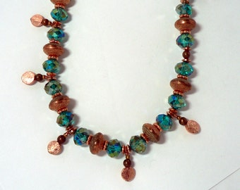 Copper Dangle and Blue Green Chinese Crystal Necklace