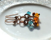 Pearl and crystal copper dangle earrings, copper jewelry
