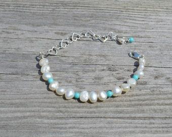 Pearl and turquoise bracelet, pearl bracelet, pearl jewellery
