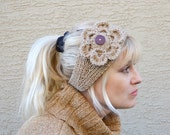 Knit headband with crochet flower Christmas gift for her