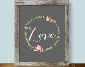 Love Floral Pastels on Gray - 8x10 Wall Art Instant Printable