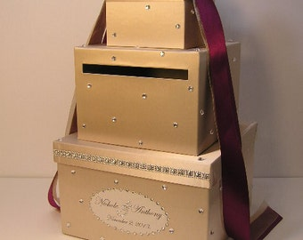 Wedding Card Box Champagne and Burgundy Gift Card Box Money Box Holder--Customize your color