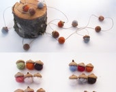 Felted Acorn Garland, Felted Wool Acorns, Autumn Home Decor