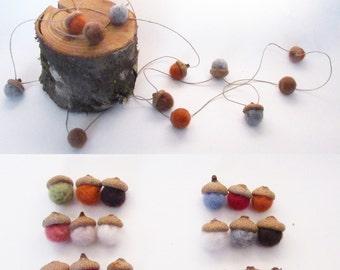 Felted Acorn Garland, Felted Wool Acorns, Autumn Home Decor