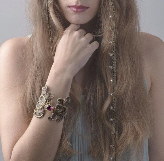 Silver lace bracelets with a purple brooch with zech crystals. Bridal bracelet.