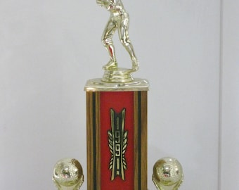 Vintage Baseball Sports Trophy Gold Baseball Player Figurine Award Prop Display Three Available