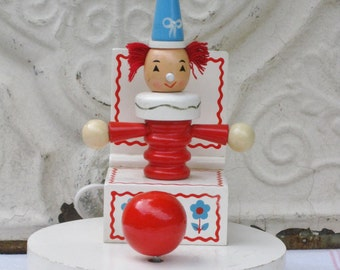 Vintage Childs Clown Lamp, Music Box, Nursery Baby Light, Jack in the Box, Brahms Lullaby Musical Nite Lite