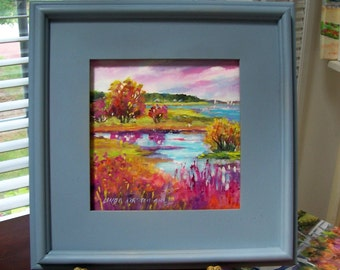 AUTUMN MARSH ......  8X8 Worked in acrylics on board and beautifully framed in a slate blue.....