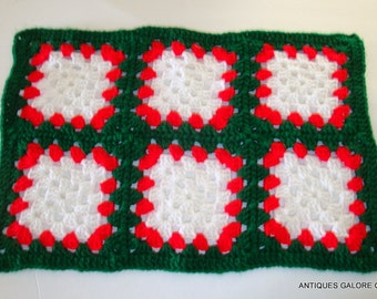 Vintage  Christmas Crochet Table Topper, 6 Afghan Squares, Holiday Decoration, Handcrafted, Handmade, Red, Green, White   (75-14)