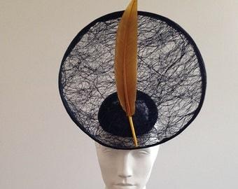 Gonzo - Large Navy & Gold Saucer Hat Great for the races, Ascot or a wedding