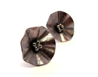 Copper Flower Earring Studs, Copper Studs, Sterling Silver Earposts, Mixed Metal Jewelry, Copper Jewelry Handmade by Rivergum Jewellery