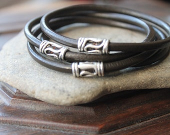 Java Dark Brown Thick Leather Stacking Bangle Set with Silver Thai Accents - Four Bracelet Set