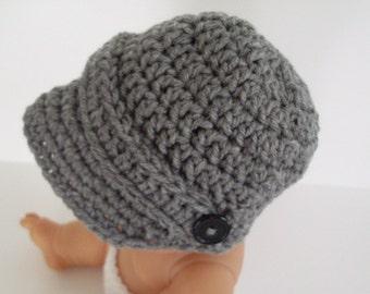 Newsboy Hat, Baby Boy Hat, Grey Visor Cap, Toddler Brim Hat
