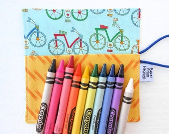 Mini Crayon Organizer Roll - Bicycle - holds 8 - 10 crayons,  bike party favor, crayon holder, crayon roll, kids valentines gift