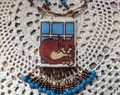 Beaded Cat and Mouse Mini Amulet Pouch Necklace