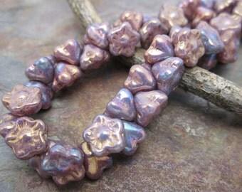 Metallic Rainbow Plum Button Style Czech Glass Beads,  Dream Girl Beads