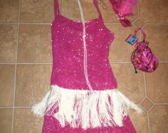 1920's  flapper Halloween COSTUME hot pink beaded skirt top dress womens sz 8
