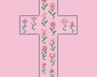 Floral Cross Easy Cross Stitch Pattern PDF Digital Download