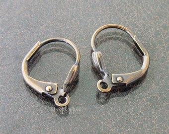 Antiqued-Brass Leverbacks, 13mm Earrings, EarWire Metal Findings - 10
