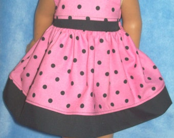 """18"""" doll clothes - Handcrafted Pink and Black Polka-dot dress"""