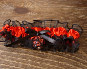 D20 dice garter dungeons and dragons gamers wedding bridal accessory geek rpg dragon dice black red