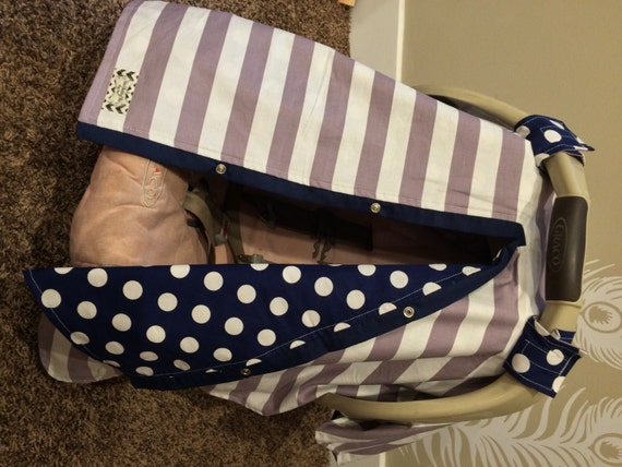 Carseat Canopy Free Shipping code today GREY and NAVY BLUE / car seat cover / nursing cover / carseat canopy / carseat cover