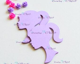"""36 Barbie Silhouette Die cuts 2.50"""" -Barbie Silhouettes Paper Labels -Barbie Silhouettes Tags -Paper tags -Cardstock die cuts"""