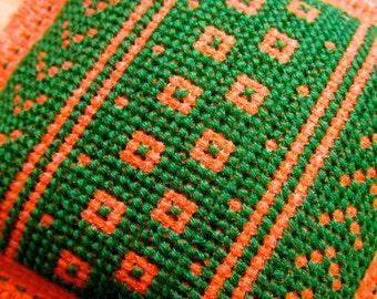 Orange and Green Lavender & Chamomile Cross Stitch Scented Sachet Drawer Closet Freshener