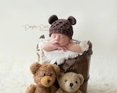 Crochet Baby Hat, Crochet Bear Hat, Baby Bear Hat, Baby Girl Hat, Baby Boy Hat, Newborn Bear Hat, Infant Bear Hat, Baby Animal Hat, Brown