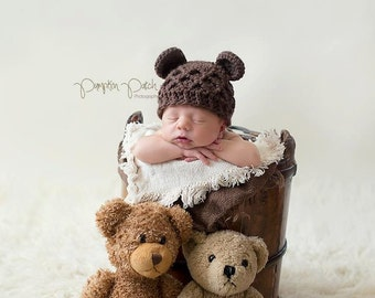Newborn Baby Bear, Crochet Bear Hat, Baby Bear Hat, Baby Hat, Newborn Photo Prop, Newborn Bear Prop, bear photo prop, Animal Hat