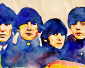 The Beatles, print from original watercolor painting, Beatles For Sale ART, custom watercolor portrait painting, Beatles art