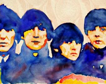 The Beatles, print from original watercolor painting, Beatles For Sale ART, custom watercolor portrait painting, Beatles art