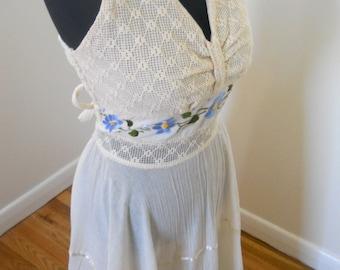 1970s 80s Halter Gauze Dress Sz M