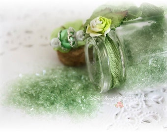 Glitter Glass Bottles .5 Ounces, Hand Tinted Diamond Dust, German Glitter, Apple Green