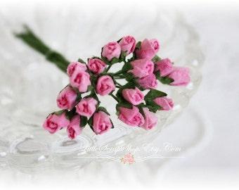 Tiny Rose Buds Dark Pink Set of 20 for Scrapbooking, Cardmaking, Altered Art, Wedding, Mini Album
