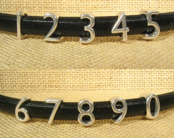 Regaliz Numbers for 10mm Flat Leather - Antique Silver