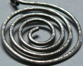 Sterling Silver Spiral Pendant, Heavy, Antiqued, Oxidized, Hand Forged, Hammered, Large, Statement