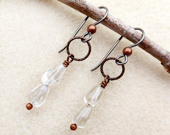 Crystal Clear Quartz Drop Aged Copper Niobium Earrings, Non-allergenic Ear Wires, Quartz Stones, Silver, Sensitive Ears, Handmade Jewelry