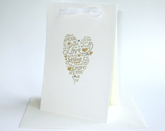 Luxury gold ivory card ... romantic glittering love languages heart ... groom bride wedding card ... husband wife 40th wedding anniversary