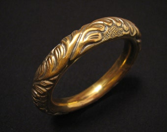 Antique Victorian Heavy Hollow Brass Repousse Scrolled Flower Jingle Chime Bangle Bracelet