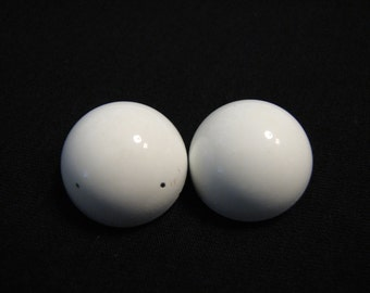 Vintage Round White Puffy Metal Clip Earrings