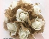 Bridesmaids Bouquets,  Ivory, Cream, Rose, Simple Bouquet, Flower Girl, Satin, Lace, Burlap, Shabby Chic, Rustic, Elegant,  Vintage Wedding
