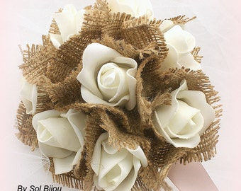 Bridesmaids Bouquets,  Ivory, Cream, Rose, Simple Bouquet, Flower Girl, Satin, Lace, Burlap, Shabby Chic, Rustic, Elegant,  Vintage Wedding