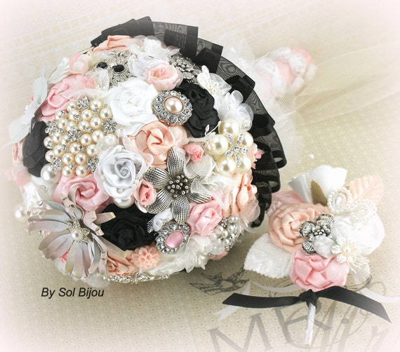 Brooch Bouquet, Groom Boutonniere, Black, Pink, Blush, White, Button Hole, Elegant Wedding, Vintage Style, Jeweled, Pearls, Crystals