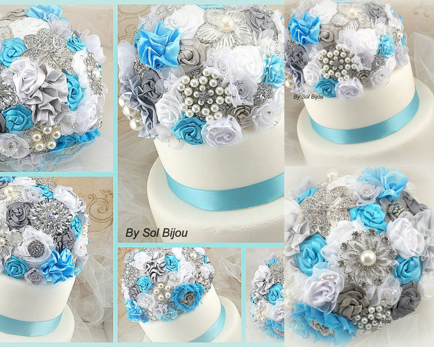 Cake Topper Brooch Topper Turquoise White